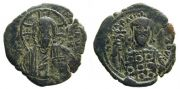 Constantine X Ducas 1059-1067 Follis 5.80gm. Nimbate facing bust of Christ, holding Gospels. / Crowned bust of the emperor facing, wearing jewelled loros and holding cruciform sceptre.