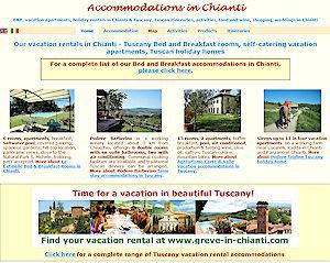 Accommodations in Chianti Bed & Breakfast rooms vacation apartments in Chianti